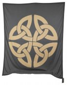 BLANKET KNITTED GREY/BEIGE SYMBOL- POWER