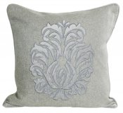 PILLOWCASE GREY WOOL EMBROIDERED