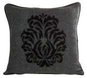 PILLOWCASE BLACK/GREY WOOL EMBROIDERED