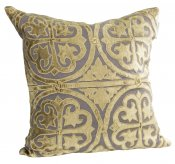 PILLOWCASE GREY LINEN - GOLD EMBROIDERED