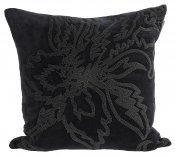 PILLOWCASE HANDMADE EMBROIDERED BLACK - BLACK BEADS