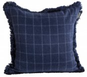 PILLOWCASE NAVY SQUARE WOOL WITH  FRINGE - VIVERE