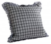 PILLOWCASE GREY/BLACK WOOL WITH  FRINGE - VIVERE