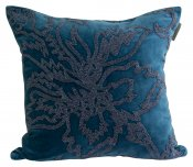 PILLOWCASE HANDMADE EMBROIDERED TEAL - BEADS EMPORIO