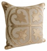 PILLOWCASE LINEN KHAKI W/GOLD/KHAKI EMBRODERY - GOLD embroidery - COAST