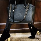 HANDBAG BLACK top handle - LEATHER T.HERMAN