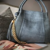 HANDBAG GREY - LEATHER T.HERMAN - MODEL TILDA