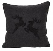 PILLOWCASE HANDMADE - BLACK GREY WOOL- Reindeer