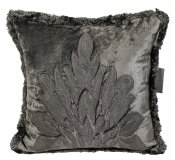 PILLOWCASE HANDMADE anthracite WITH FRINGE - LIVORNO