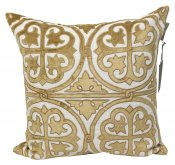 PILLOWCASE LINEN - GOLD EMBROIDERED - antique
