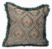 PILLOWCASE PAISLEY TEAL W/ FRINGE - EARTH