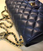 TOPFLAP BAG NAVY -LEATHER