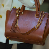 HANDBAG BROWN top handle - LEATHER