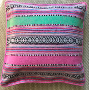 PILLOWCASE PINK GREEN BLACK - 45*45