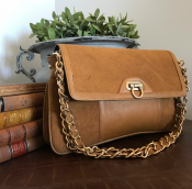 CLUTCH COGNAC - LEATHER/SUADE - GRACE