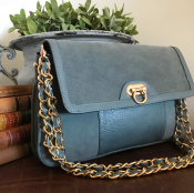 CLUTCH GREY - LEATHER/SUADE - GRACE