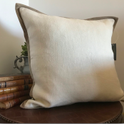 PILLOWCASE LINEN OFF WHITE W BEIGE VELVET FRAME - PLAIN