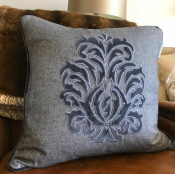 PILLOWCASE GREY WOOL WITH  EMBROIDERED - CRWON