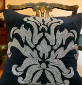 PILLOWCASE HANDMADE EMBROIDERED BLACK/SILVER BEADS - FLOWER