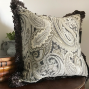 PILLOWCASE PAISLEY GREY/MUD W/ GREY/MUD FRINGE - ADAM