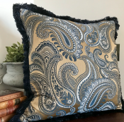 PILLOWCASE PAISLEY BLUE W/ BLUE FRINGE