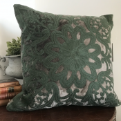PILLOWCASE ANTRACIT GREY VELVET W/GREY GREEN embroidery  - ROYAL
