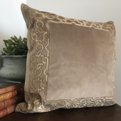 PILLOWCASE BEIGE VELVET GOLD FRAME - ZARI