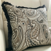 PILLOWCASE PAISLEY BLACK GREY W/ GREY FRINGE