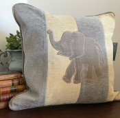 PILLOWCASE BABY ELEPHANT GREY/OFFWHITE