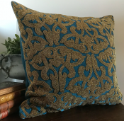 PILLOWCASE HANDMADE EMBROIDERED SAFIR BLUE - GOLD BEADS