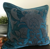 PILLOWCASE HANDMADE EMBROIDERED TEAL - DIVINE