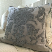 PILLOWCASE HANDMADE EMBROIDERED LIGHT GREY - DIVINE
