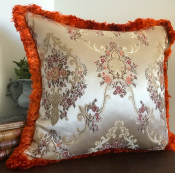 PILLOWCASE PAISLEY SILVER GREY W/ ORANGE FRINGE