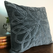 PILLOWCASE GREYBLUE VELVET - STAR