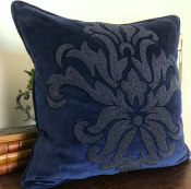PILLOWCASE HANDMADE EMBROIDERED NAVY FLOWER