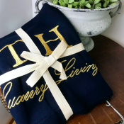 BLANKET KNITTED NAVY/GOLD TEXT - LUXURY LIVING