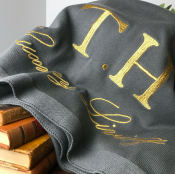 BLANKET KNITTED GREY/GOLD TEXT - LUXURY LIVING