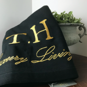 BLANKET KNITTED BLACK/GOLD TEXT - LUXURY LIVING