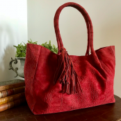HANDBAG/SHOPPER RED CROC - SUEDE - LACE