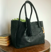 HANDBAG/SHOPPER BLACK CROC - SUEDE - LACE
