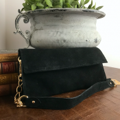 CLUTCH BLACK  - SUEDE - GARBO