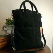 HANDBAG/SHOULDER BAG BLACK - SUEDE - SIGNE