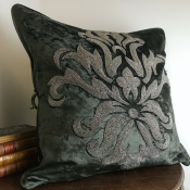 PILLOWCASE HANDMADE EMBROIDERED THOUNDER GREY - FLOWER