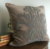PILLOWCASE HANDMADE EMBROIDERED DUSTY NOUGAT - FLOWER