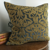 PILLOWCASE HANDMADE EMBROIDERED DEEPGREY - GOLD BEADS - LAKSHMI