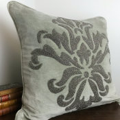 PILLOWCASE HANDMADE EMBROIDERED LIGHT GREY - FLOWER
