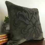 PILLOWCASE HANDMADE EMBROIDERED OLIVE/OLIVEBROWN - FLOWER