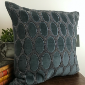PILLOWCASE GREYBLUE VELVET W/beads - VERONA