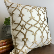 PILLOWCASE OFFWHITE LINEN - BEIGE EMBROIDERED