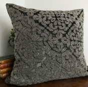 PILLOWCASE HANDMADE EMBROIDERED THUNDER GREY - POWER